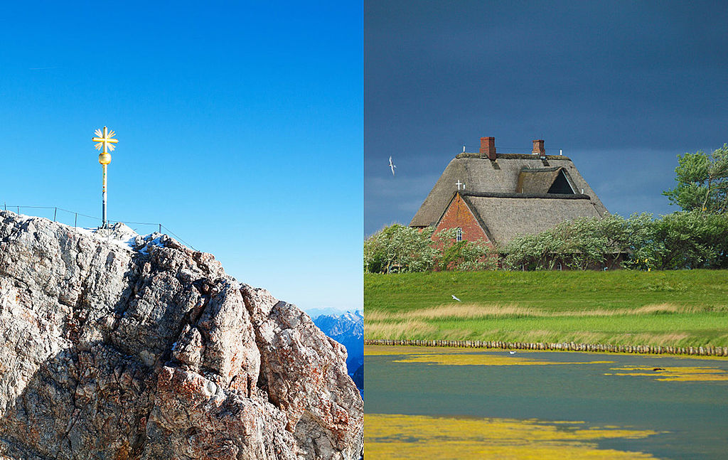Pictures of Zugspitze and House on a Hallig Island